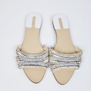 Zara Metallic Woven Sandals size 8